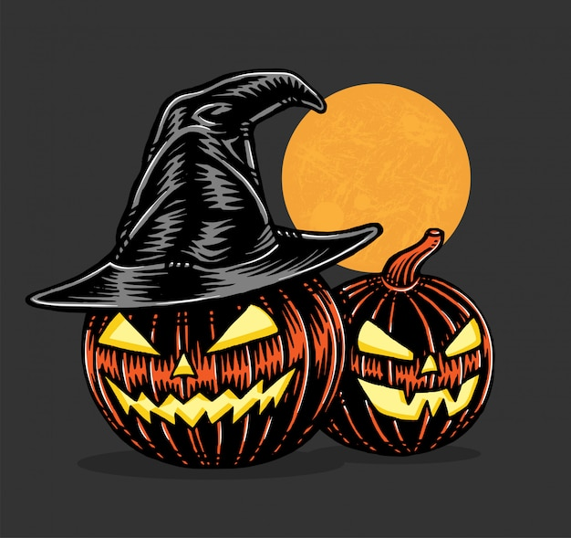 Spooky pumpkins with witch hat