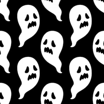 Spooky seamless pattern halloween ghost cartoon