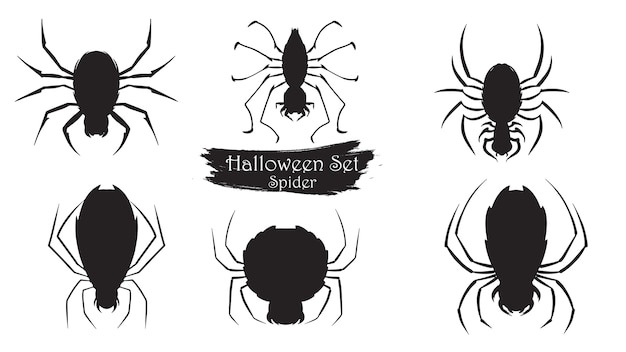 Spooky spider silhouette collection of halloween