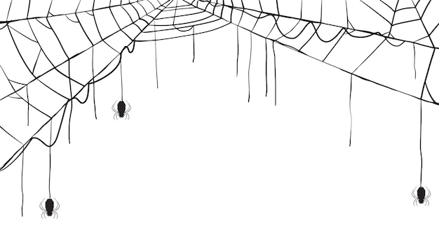 Spooky spider web silhouette collection of halloween