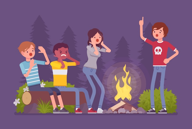 Spooky story near campfire fun. teens tell in the dark sinister or ghostly tale about creepy horrors, frightened and nervous friends camping at night near fire.   style cartoon illustration