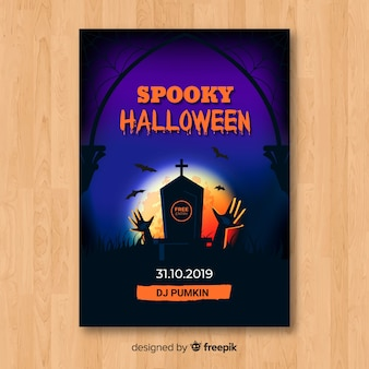 Spooky tombstone halloween party flyer template