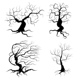 Spooky trees set vector illustration halloween elements isolated on white background