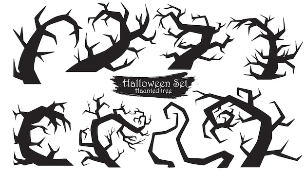 Spooky trees silhouette collection of halloween