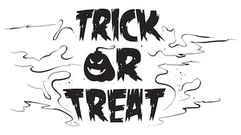 Spooky trick or treat text with pumpkin