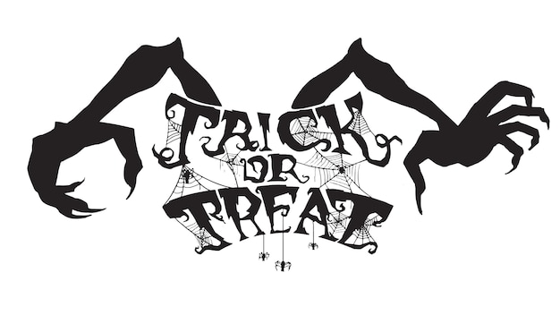 Spooky trick or treat text with spider web