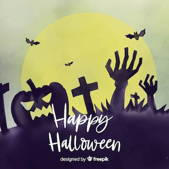 Spooky watercolor halloween background
