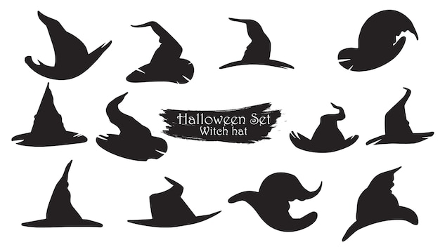 Spooky witch hats silhouette collection of halloween