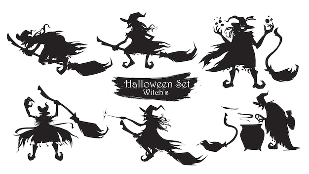 Spooky witch with brooms and hats silhouette collection