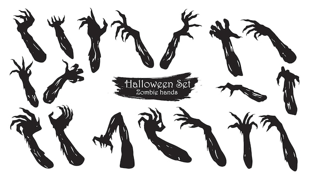 Spooky zombie hands silhouette collection of halloween