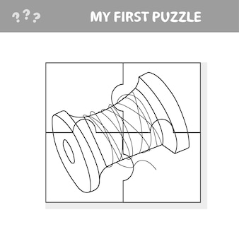 Spool of thread - cartoon illustration of education jigsaw puzzle game for preschool children - my first puzzle and coloring book Premium Vector