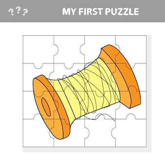Spool of thread - cartoon illustration of education jigsaw puzzle game for preschool children - my first puzzle Premium Vector