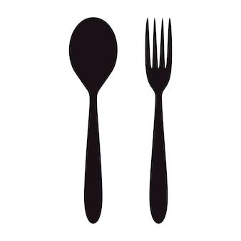 숟가락과 포크 아이콘입니다. 레스토랑 디자인.