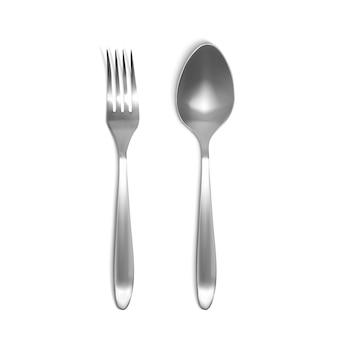 Cucchiaio e forchetta illustrazione 3d. insieme realistico isolato di articoli per la tavola in argento o metallo