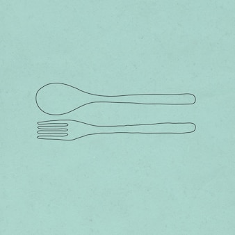Spoon and fork doodle illustration zero waste lifestyle