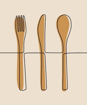 Spoon, fork, knife eat oneline continuous line art