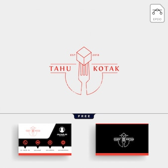 Spoon, fork restaurant logo template and business card