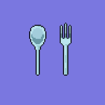 Spoon and fork with pixel art style