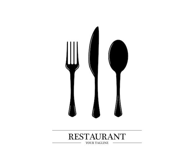 スプーン、ナイフ、フォークのロゴ。カトラリーアイコン。レストランの看板。コレクションスプーン、ナイフ、フォーク。レストランの看板。