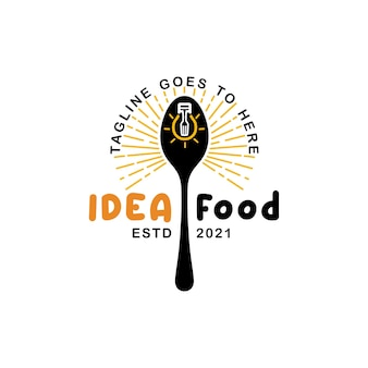 Spoon light bulb ideas restaurant creative logo design inspiration