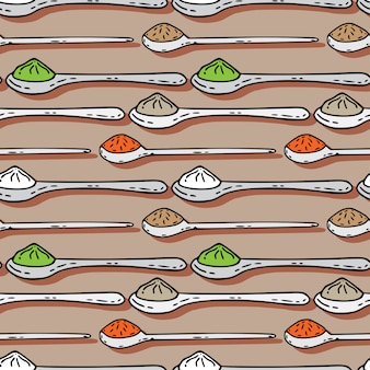 Spoons with colorful spices seamless pattern