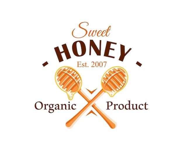 흰색 배경에 고립 된 꿀 방울과 숟가락. 꿀 라벨, 로고, 상징 개념.