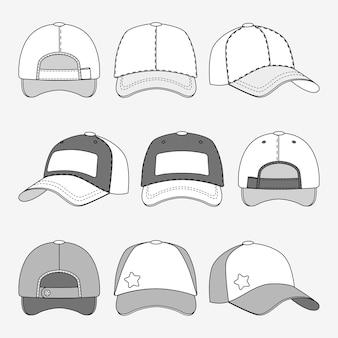 野球帽の前部の背中と側面の輪郭ベクトル。帽子のテンプレート、sporの帽子のイラスト