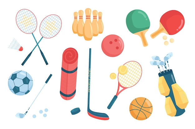 Sport accessories cute elements isolated set