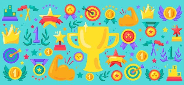 Sport achievement cartoon icon set