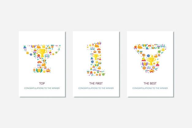 Спортивные достижения, набор плакатов вектора успеха. красочный победитель поздравления баннеры с текстом