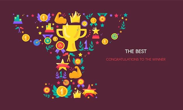 Sport achievement, victory vector banner. trophy shape with flat symbols. success, triumph