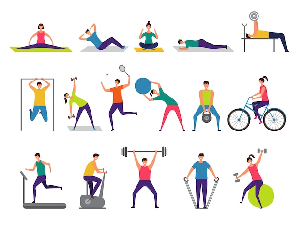Sport activities. active people making fitness actions running jumping playing cycling  characters
