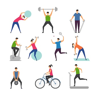 Sport activities. characters outdoor making some exercises active people running man gymnastics fitness pictures