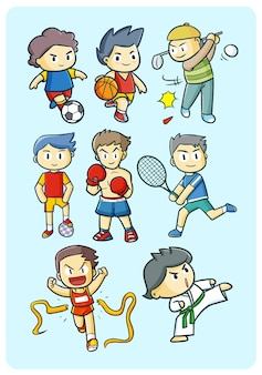 Sport activities characters in simple doodle style