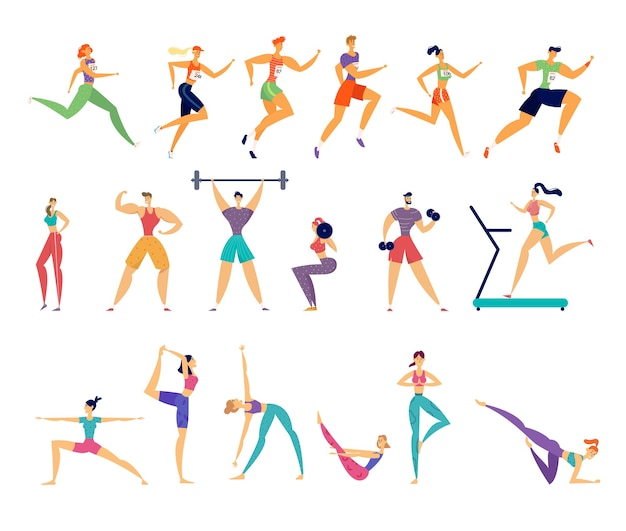 Sport activities set. male and female sportsmen characters workout.
