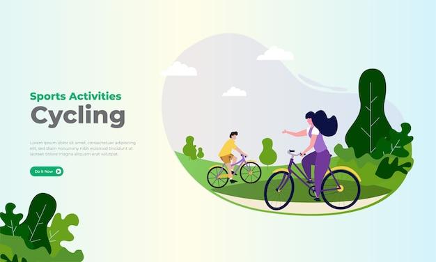 공원에서 자전거 일러스트와 함께 스포츠 활동