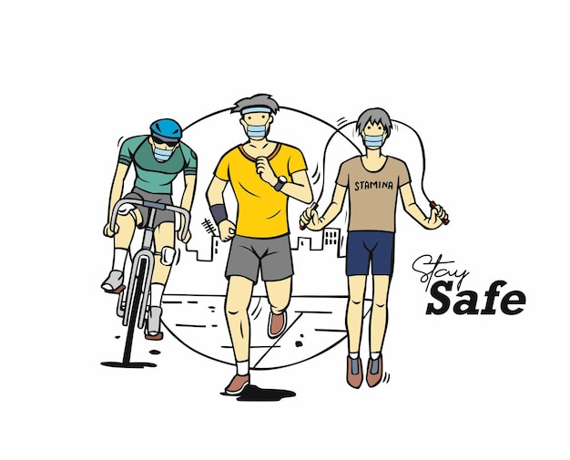 Sport and activity line drawing vector illustration