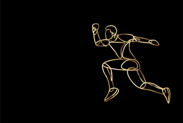 Sport and activity man runner jogger running isolated gold icon, vector illustration.