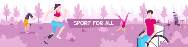 Sport per tutta l'illustrazione orizzontale con adolescenti maschi e femmine che si allenano all'aperto sulla passeggiata nell'illustrazione piatta del parco cittadino,