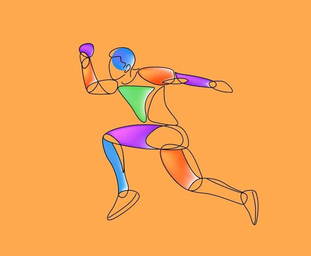 孤立した線画、ベクトル図を実行しているスポーツとアクティビティの男性ランナージョガー。