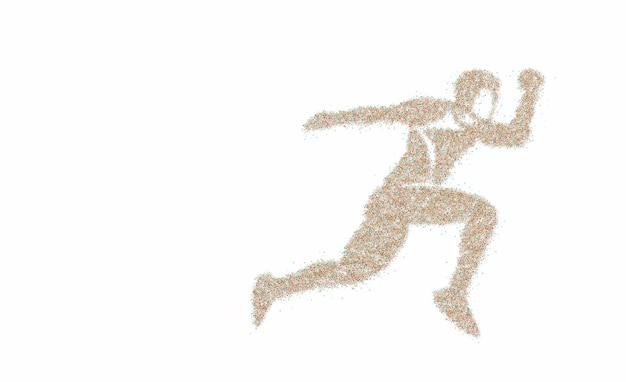 分離された粒子を実行しているスポーツとアクティビティの男性ランナージョガー、ベクトルイラスト。