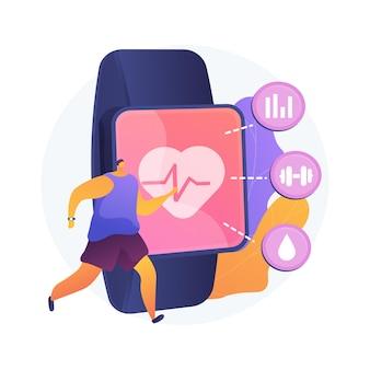 スポーツとフィットネストラッカーの抽象的な概念のベクトル図です。アクティビティバンド、ヘルスモニター、手首に装着するデバイス、ランニング、サイクリング、毎日のトレーニングの抽象的な比喩。