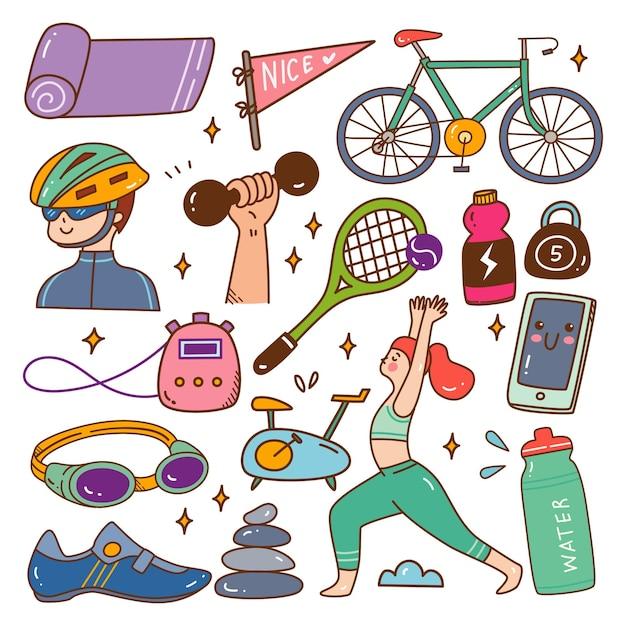 Спорт и здоровый образ жизни каваи каракули векторные иллюстрации