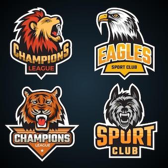 스포츠 동물입니다. 야생 동물 회색곰 늑대 호랑이 마스코트 벡터 컬렉션이 있는 팀 로고 또는 상징. 게임 클럽 대학 일러스트레이션을 위한 상징 동물