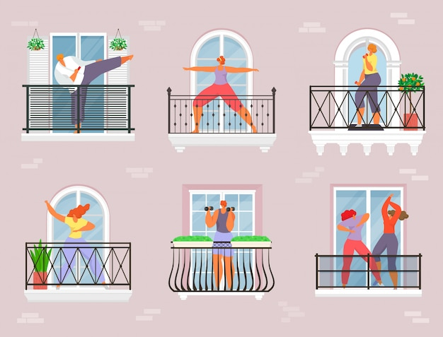バルコニーでスポーツ、隔離された家のイラスト。人のキャラクターは家でエクササイズをし、ヨガの女の子はコロナウイルスのライフスタイルです。