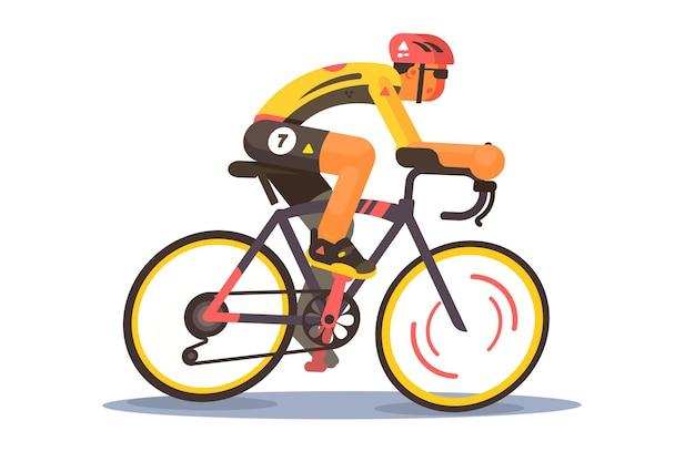 スポーツアスリートサイクリストイラスト。スポーツウェアとヘルメットの乗馬自転車の男