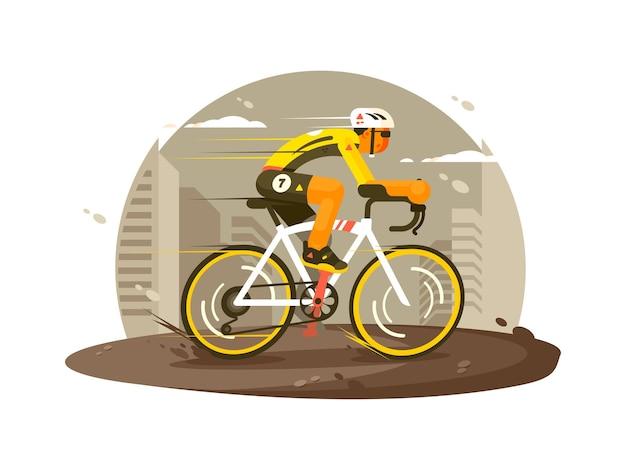 스포츠 선수 사이클리스트는 빠르게 자전거를 탄다. 평면 그림