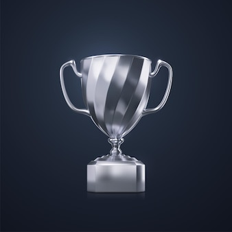 Sport award concept of silver champion cup isolated on black background
