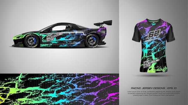 レーシングカーのラップとtシャツのスポーツの背景