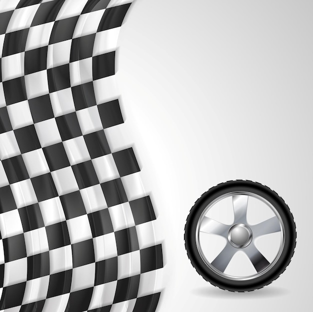 Спортивный фон с флагом колеса и финиша. векторный дизайн